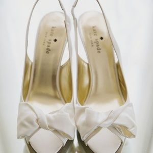 Ivory slingback peeptoe heeled sandals with bow